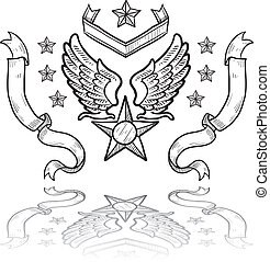 nous, insigne, militaire, force, air