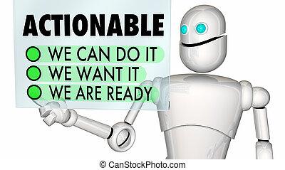 nous, liste contrôle, il, illustration, robot, actionable, boîte, vouloir, prêt, maintenant, 3d
