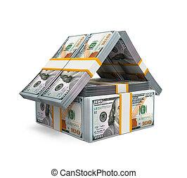 nous, maison, dollar, argent, meute, factures