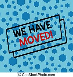 nous, moved., autre, signe bleu, aller, résidence, emplacement, texte, photo, ou, projection, dispersé, arrière-plan., sexangles, avoir, hexagones, randomly, une, conceptuel, seamless, reloger, assorti