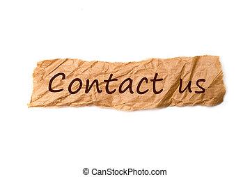 nous, papier, morceau, titre, contact