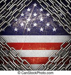 nous, peint, fond, argent, drapeau