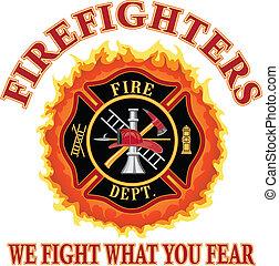 nous, pompiers, quel, baston, vous, peur