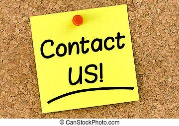nous, poste, contact, closeup, corkboard, il, note, message