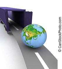 nous, récipient, globe., offre, portes, international, ouvert, transportation.