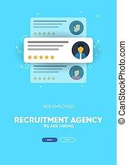 nous, recrutement, bannière, job., hiring., choisir, illustration., vecteur, candidat, mieux