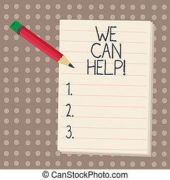 nous, service, donner, help., texte, conseil, soutien, nous, signe, solutions., laisser, boîte, photo, conceptuel, vous, projection, assistance