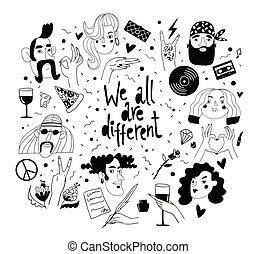nous, tout, différent, avatars, symboles, leur, vecteur, conceptions, main, signs.