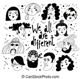 nous, tout, portraits, gens, différent, avatars, vecteur, conception, ou