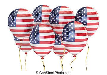nous, usa, fédéral, concept., holyday, rendre, drapeau, patriotique, ballons, 3d