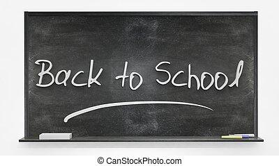 nouveau école, écrit, sur, tableau noir