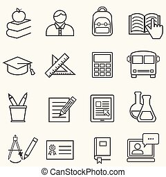 nouveau école, et, education, ligne, icônes