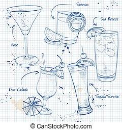 nouveau, époque, ensemble, page, cahier, cocktail