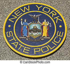 nouveau, état, emblème, police