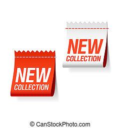 nouveau, étiquettes, collection