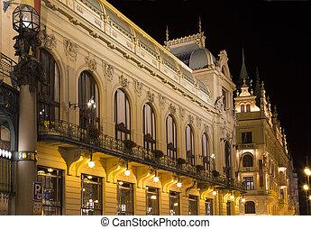 nouveau, スタイル, 芸術, 市の, --, 家, (1912), 少佐, プラハ, チェコ共和国, ランドマーク, 光景, ホール, コンサート
