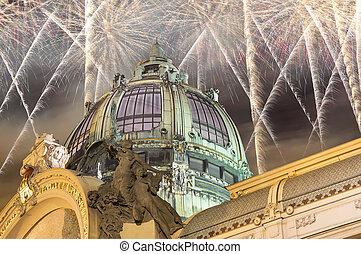 nouveau, 少佐, 芸術, コンサート, チェコ, 家, (1912), 花火, スタイル, プラハ, --, 共和国, 光景, ランドマーク, 休日, ホール, 市の