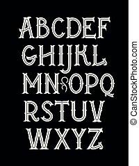 nouveau, 芸術, 型, ベクトル, font., アルファベット, オリジナル