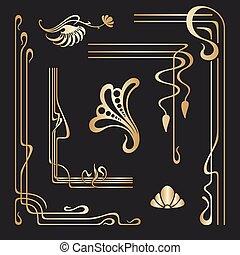 nouveau, 装饰, 放置, 艺术, elements., 矢量