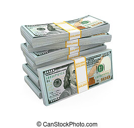 nouveau, 100, dollar, piles, nous