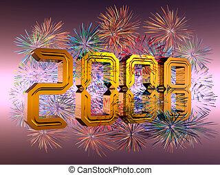 nouveau, 2008, feux artifice, année