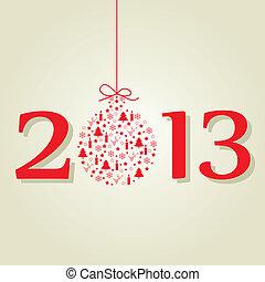 nouveau, 2013, balles, noël, rouges, année