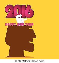nouveau, 2016, conception, salutation, année
