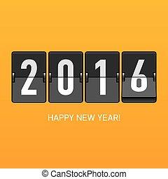 nouveau, 2016, heureux, carte, année