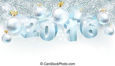 nouveau, 2016, noël, fond, année