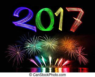 nouveau, 2017, feux artifice, veille, année