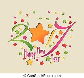 nouveau, 2017, heureux, étoile, année