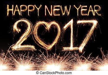 nouveau, 2017, heureux, année