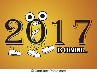 nouveau, 2017, heureux, arrière-plan., année