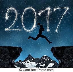 nouveau, 2017, sauts, girl, année