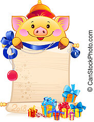 nouveau, 2019, terreux, jaune, year., cochon, symbole