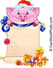 nouveau, 2019, year., cochon, symbole