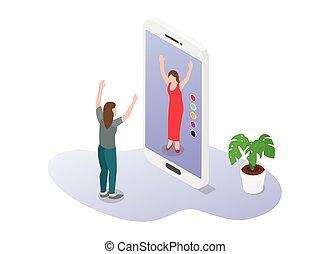 nouveau, 3d, moderne, plat, vêtements, mode, achat, virtuel, style, augmented, réalité, ecommerce, ou, technologie