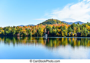 nouveau, adirondacks, automne, york, feuillage