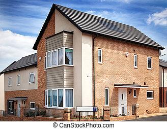 nouveau, anglaise, propriété, résidentiel
