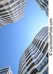 nouveau, angle, appartements, extérieur, prise vue large, bâtiments