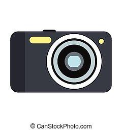 nouveau, appareil photo, plat, icône