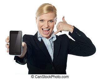 nouveau, appareil photo, vendeuse, iphone, afficher