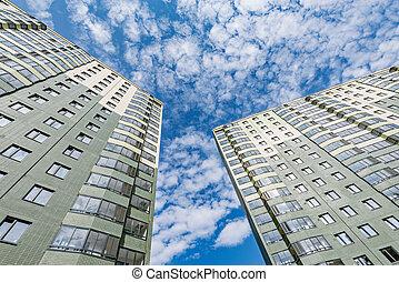 nouveau, appartement, bâtiments., extérieur