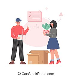 nouveau, appartement, couple, replacer, affaires, emballage...