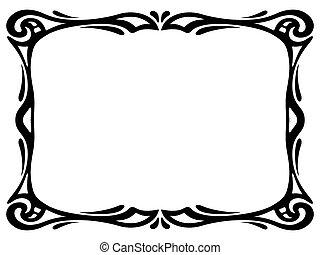 nouveau, arte decorativa, ornamental, marco, negro
