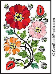 NOUVEAU, arte, flor,  -, patrón