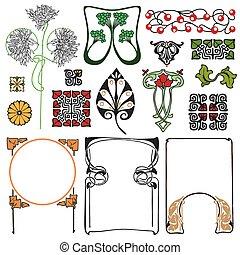 nouveau, arte floral, ornamentos