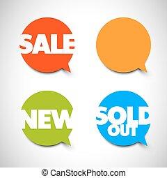 nouveau, articles, indicateurs, vente, bulle discours, vendu