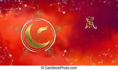 nouveau, astrologie, année, rouges, chinois, rat, carte or,...