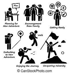 nouveau, aventure, adversité, conquérir